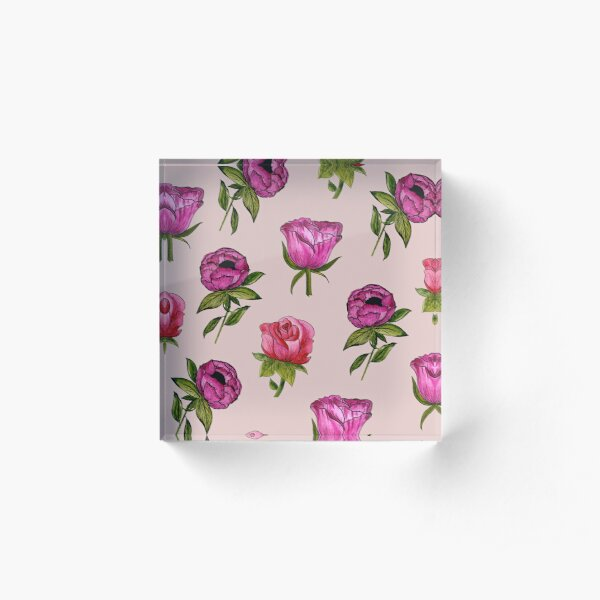 Pink and Purple florals Acrylic Block