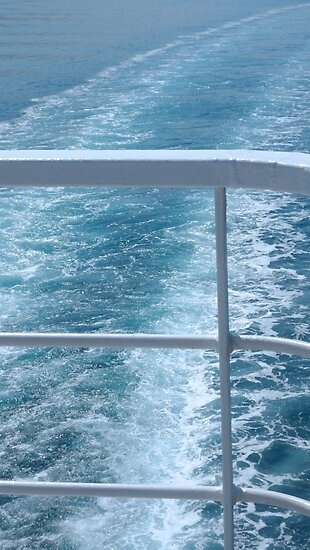 Holiday Cruise Ship Railings and Ocean Wake Waves Behind by HotHibiscus