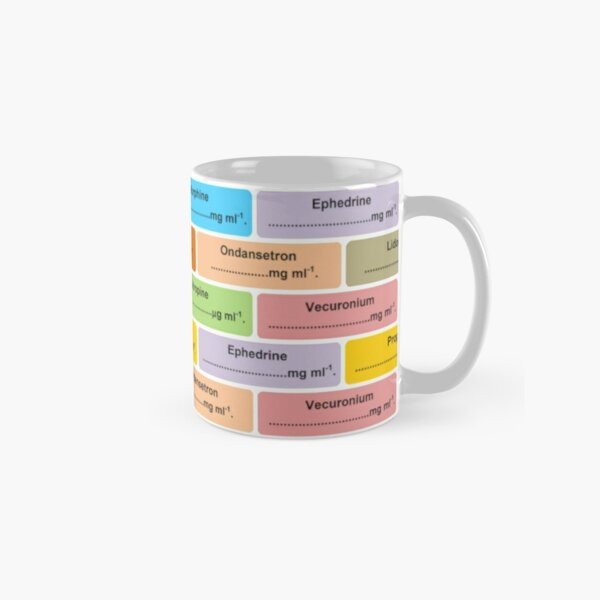 Gift for Anaesthetist / Anesthetist / Anesthesiologist Drug Label Pattern Classic Mug