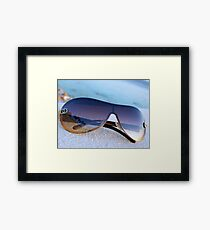 Palm Trees Reflected in Sunglasses Ocean Background Framed Print