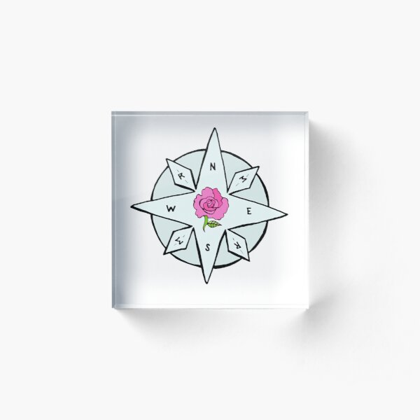 Compass for Rosemary and Maggie Rose Acrylic Block