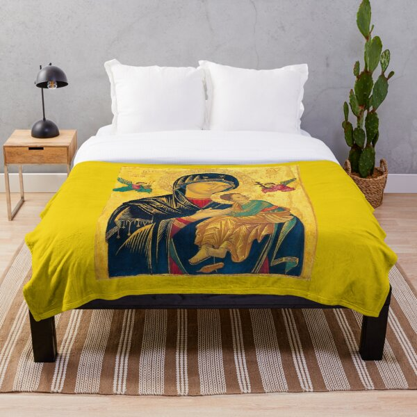 Madonna, Mother Of Perpetual Help, Christian Icon. Throw Blanket