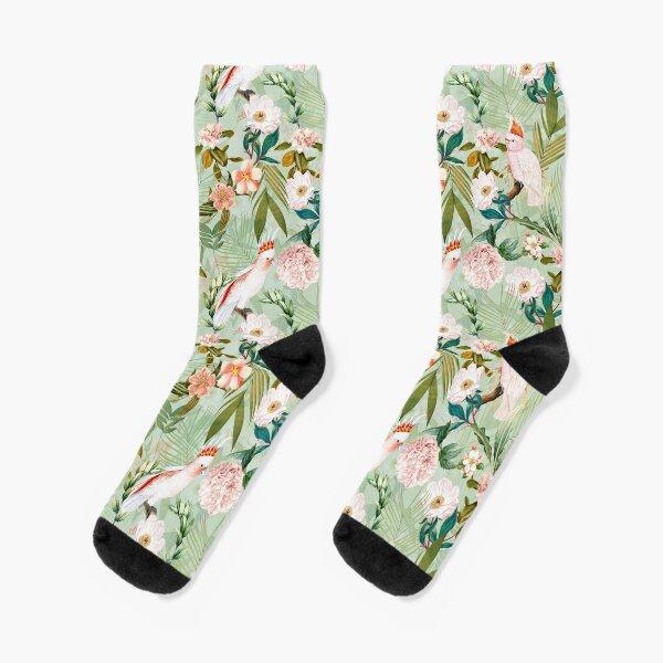Tropical cockatoo and jungle pattern - mint Socks