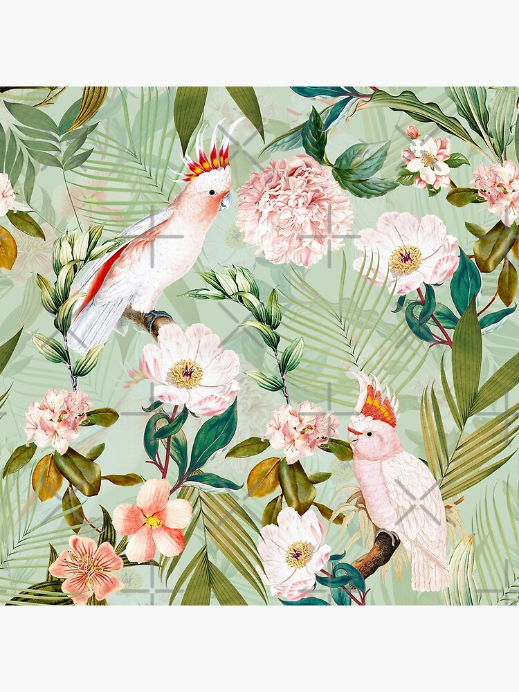 Tropical cockatoo and jungle pattern - mint by UtArt