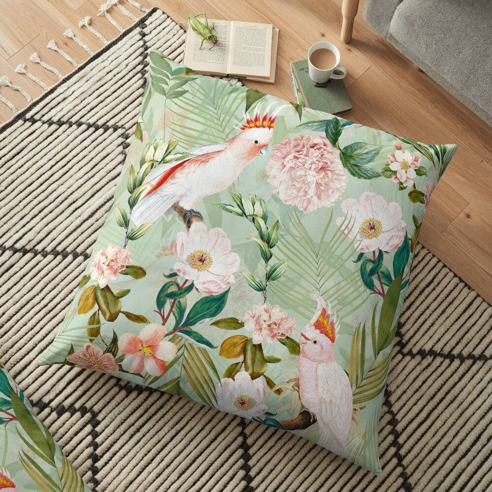 Tropical cockatoo and jungle pattern - mint Floor Pillow