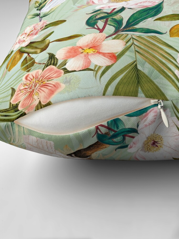 Alternate view of Tropical cockatoo and jungle pattern - mint Floor Pillow