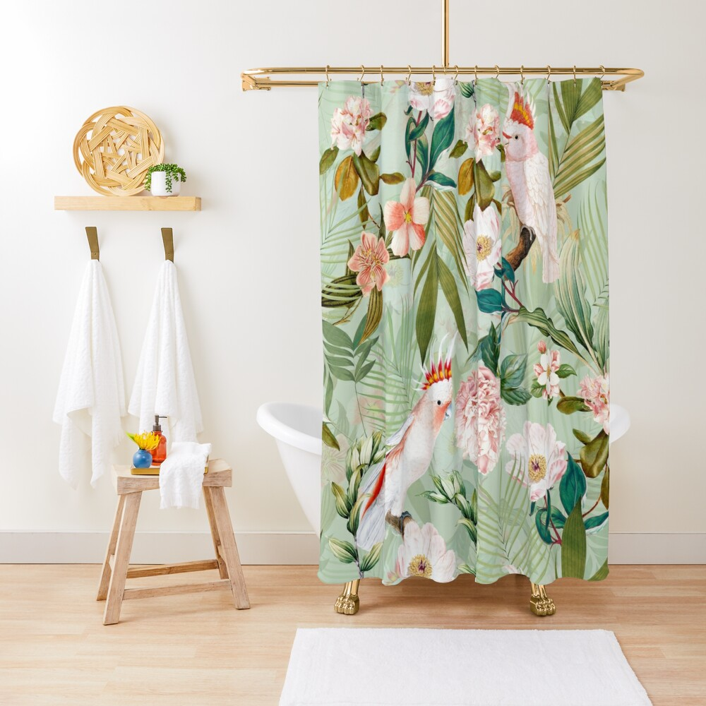 Tropical cockatoo and jungle pattern - mint Shower Curtain
