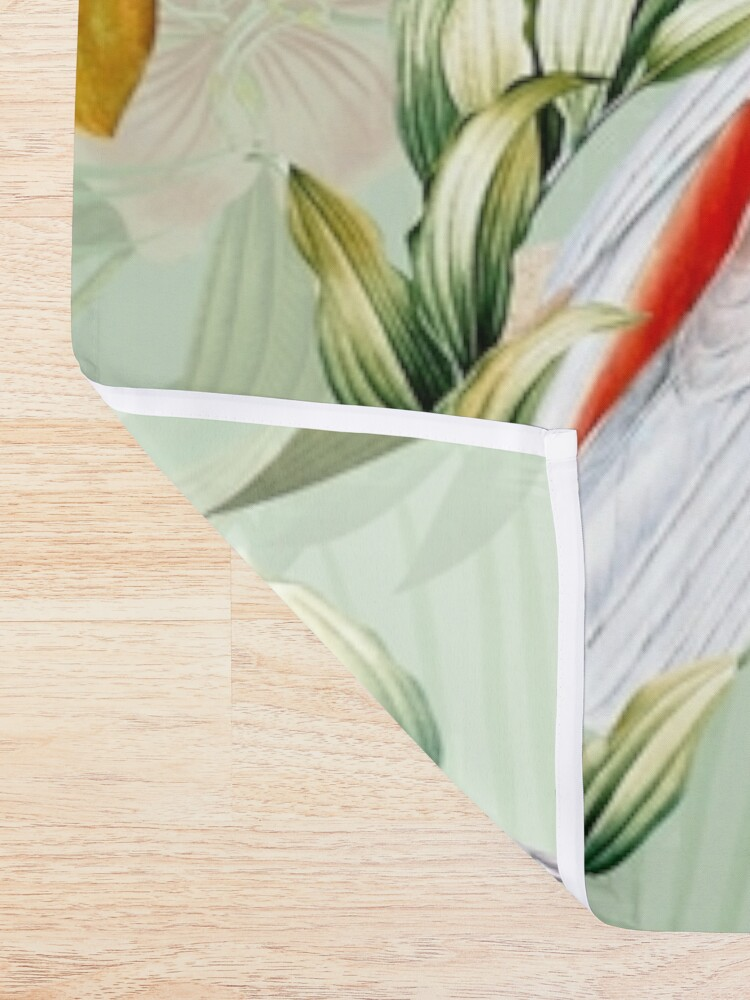 Alternate view of Tropical cockatoo and jungle pattern - mint Shower Curtain