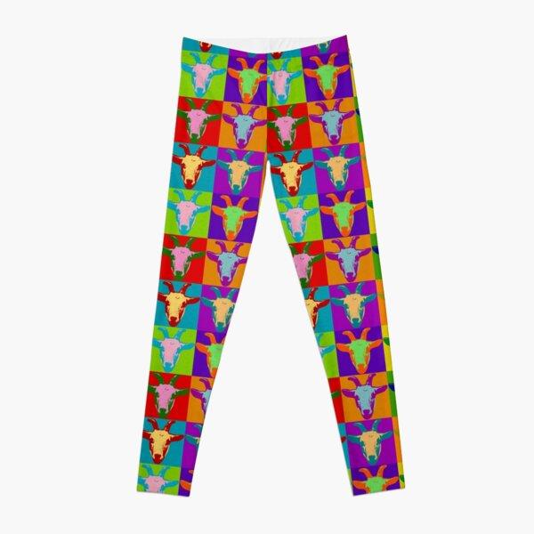 Goat Pop Art Graphic BIlly Goat Bright Color Retro Leggings