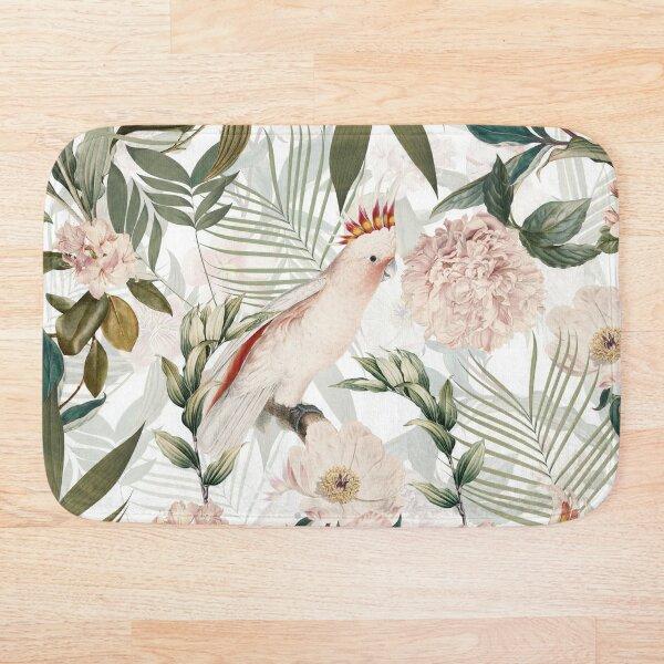 Tropical cockatoo and jungle pattern - white Bath Mat
