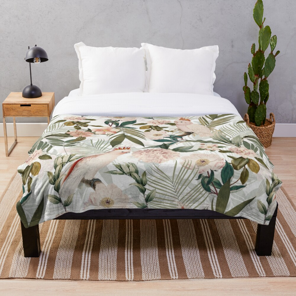 Tropical cockatoo and jungle pattern - white Throw Blanket