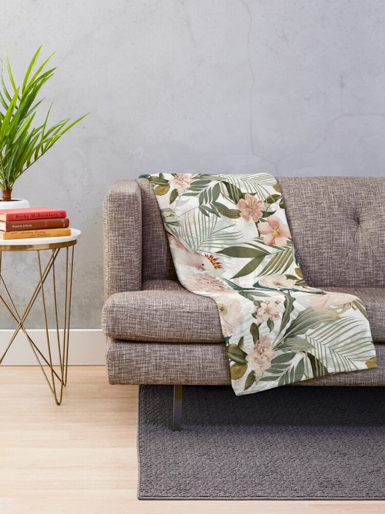 Alternate view of Tropical cockatoo and jungle pattern - white Throw Blanket