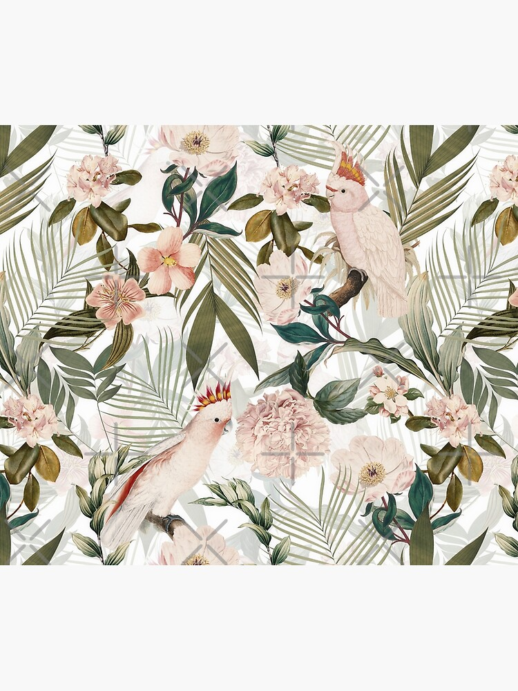 Tropical cockatoo and jungle pattern - white by UtArt