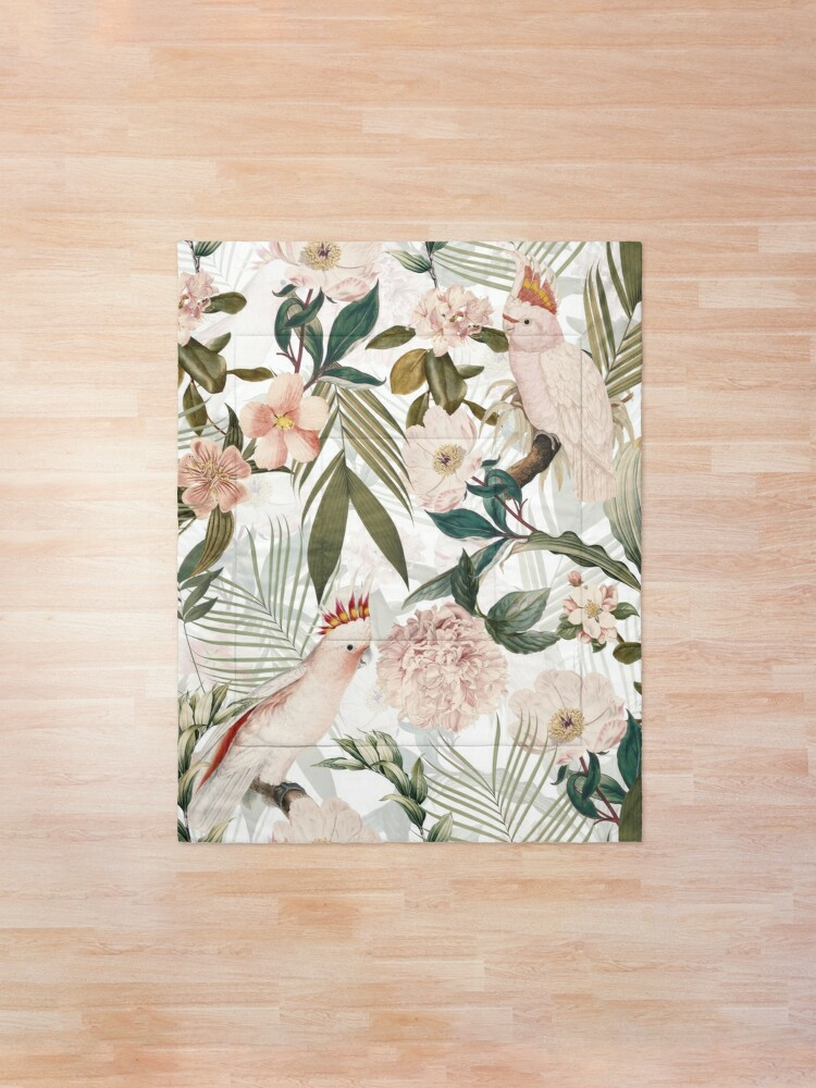 Alternate view of Tropical cockatoo and jungle pattern - white Comforter