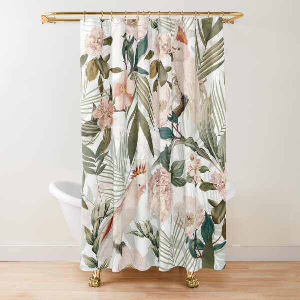 Tropical cockatoo and jungle pattern - white Shower Curtain