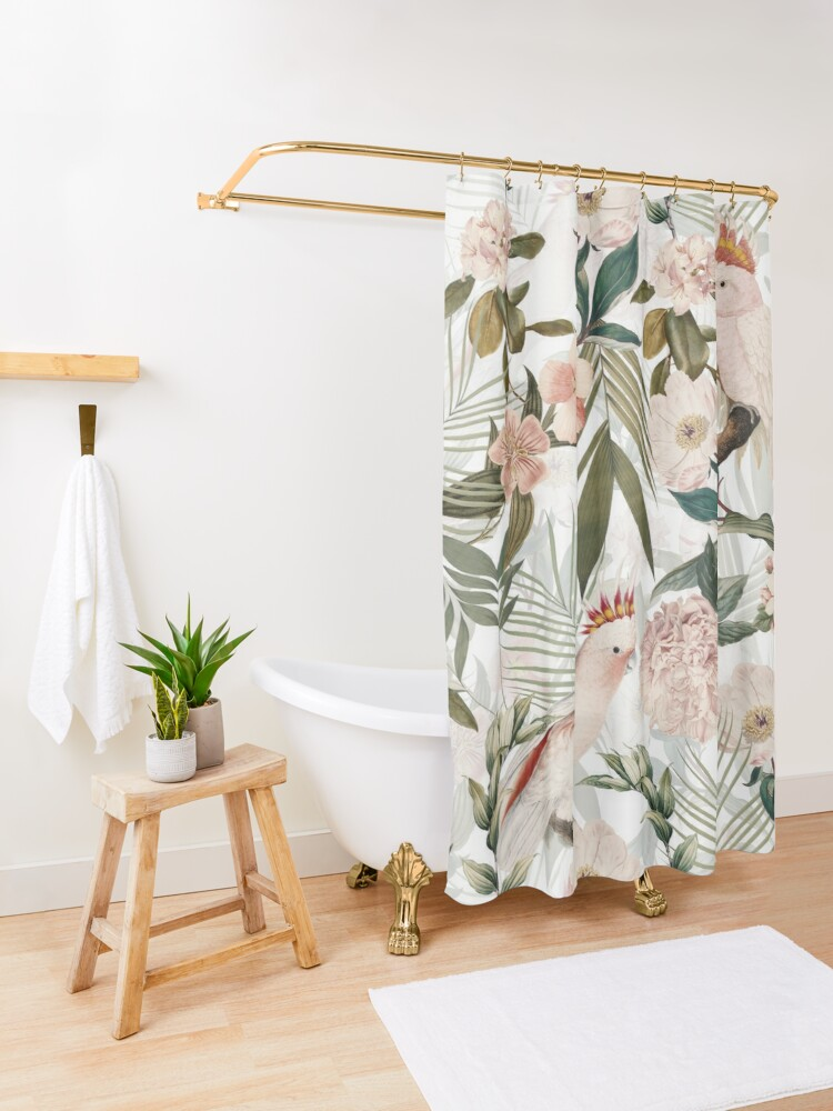 Alternate view of Tropical cockatoo and jungle pattern - white Shower Curtain