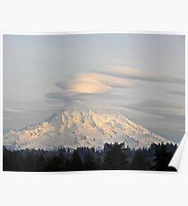 Lenticular Clouds over Mount Rainier Poster