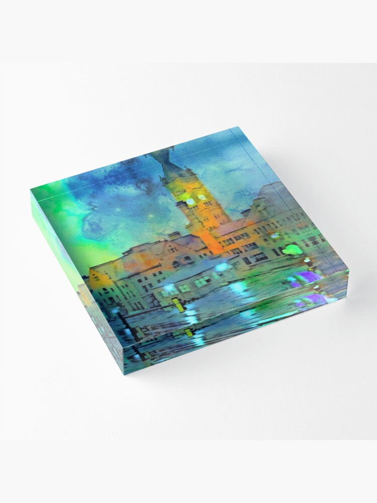 Alternate view of Clock Tower in Rain Acrylic Block