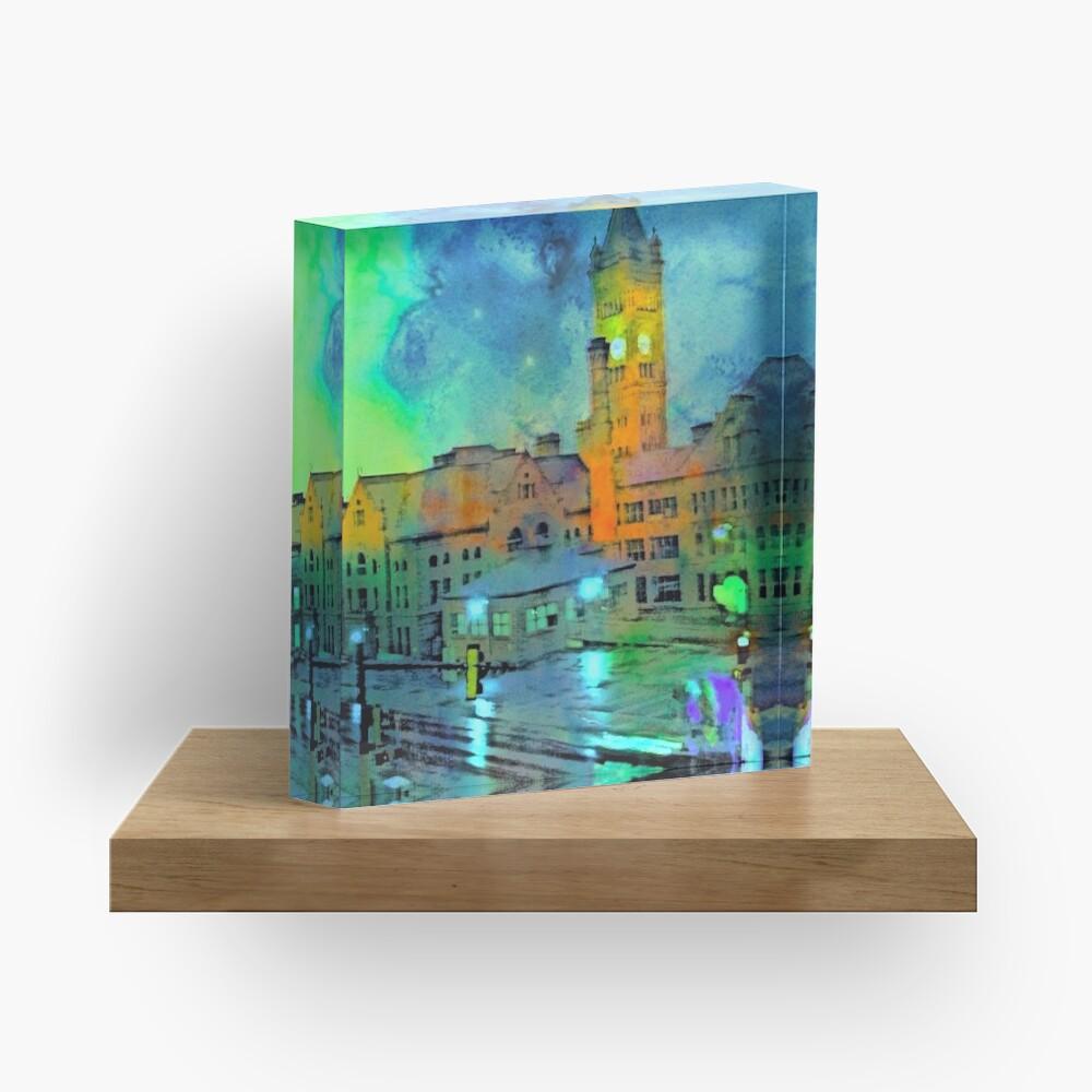 Clock Tower in Rain Acrylic Block