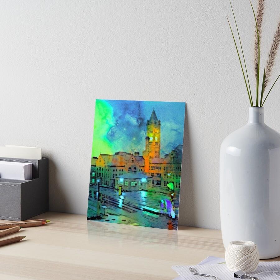 Clock Tower in Rain Art Board Print