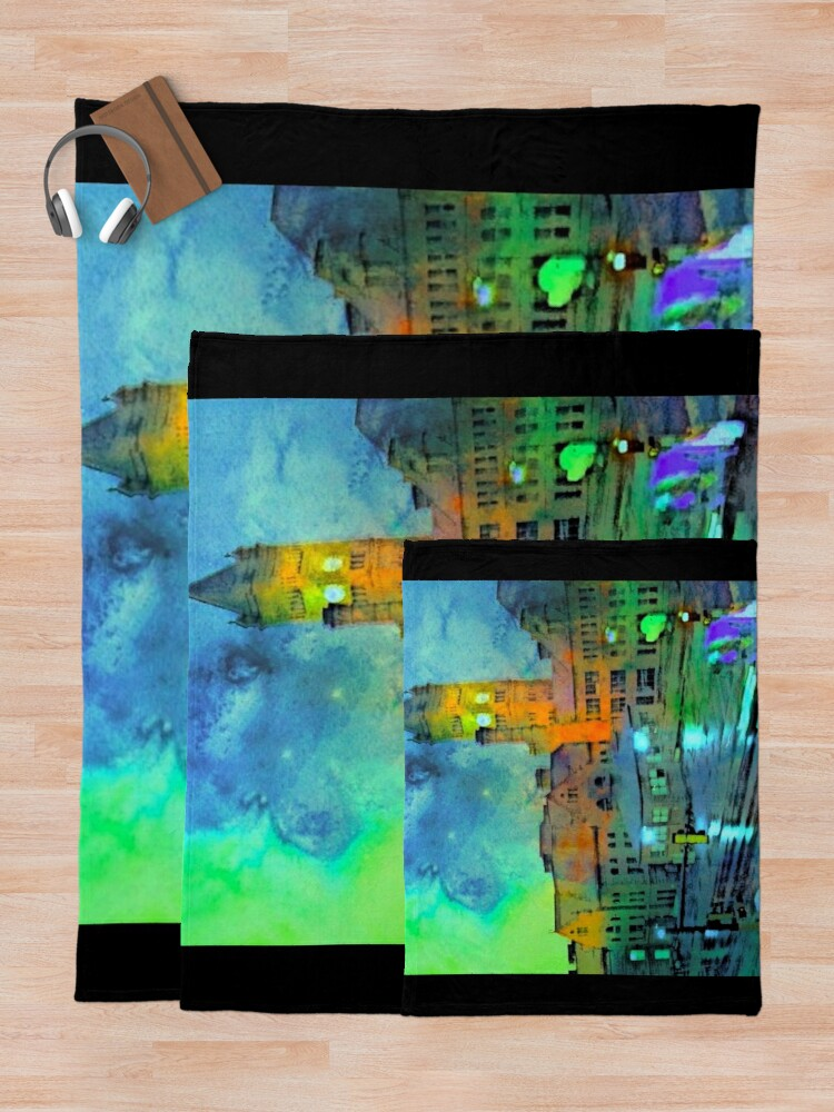 Alternate view of Clock Tower in Rain Throw Blanket