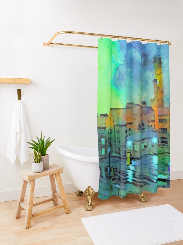 Alternate view of Clock Tower in Rain Shower Curtain