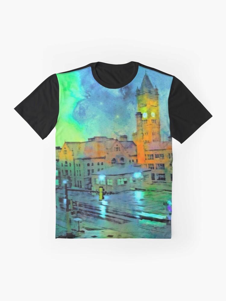 Alternate view of Clock Tower in Rain Graphic T-Shirt