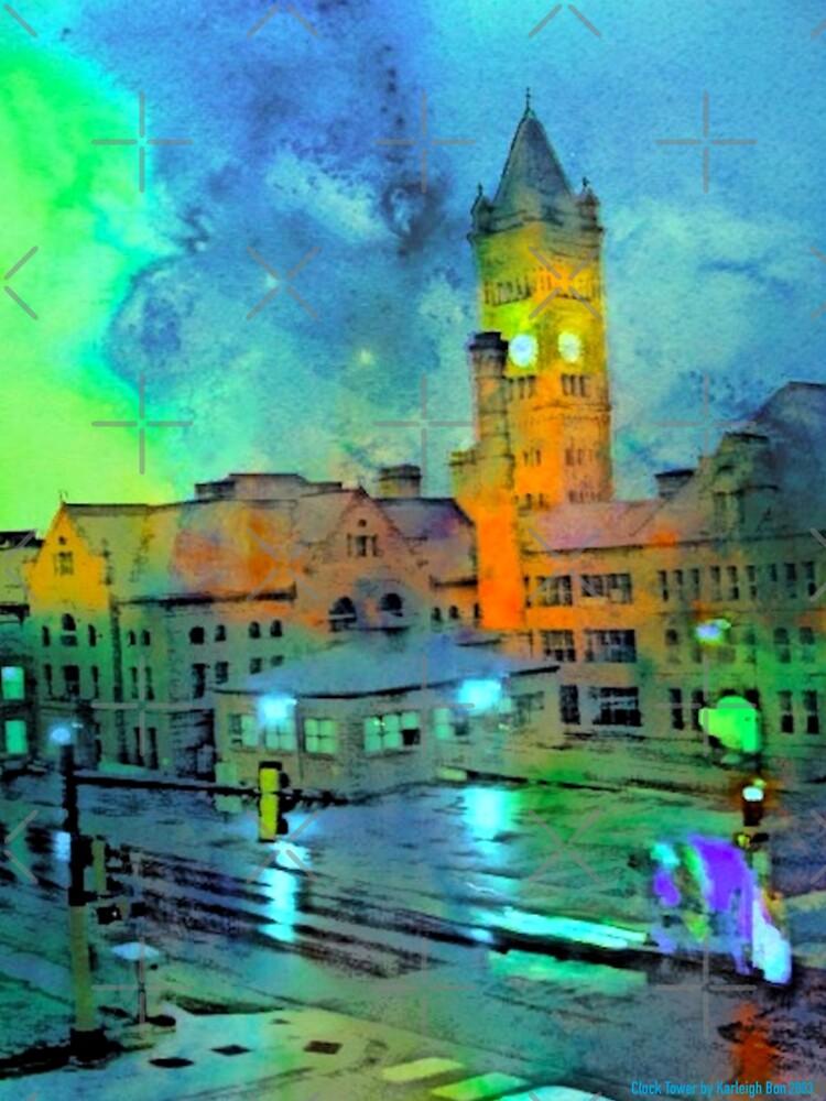 Clock Tower in Rain by KarleighBon