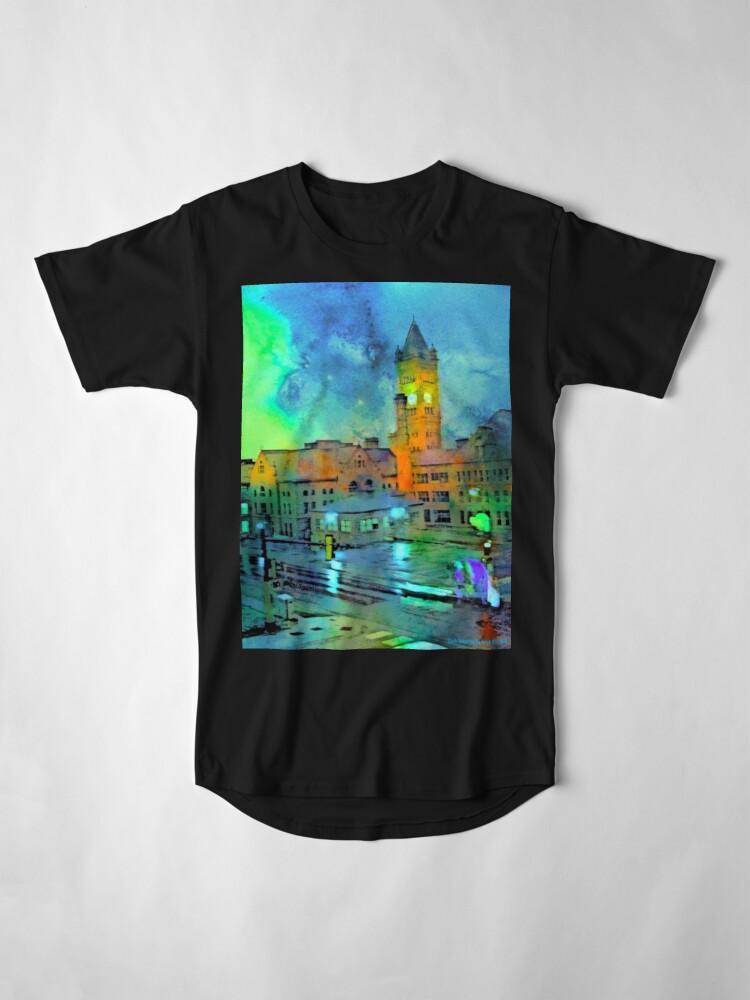 Alternate view of Clock Tower in Rain Long T-Shirt