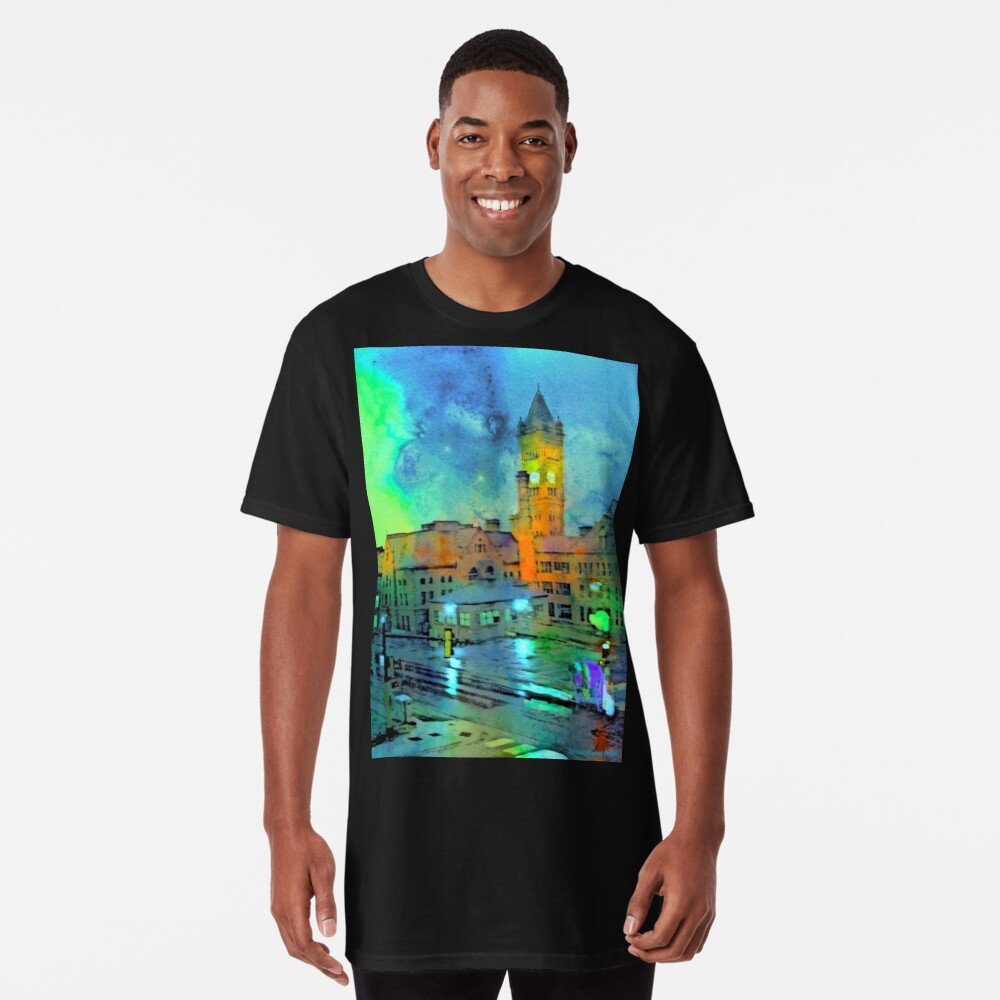 Clock Tower in Rain Long T-Shirt