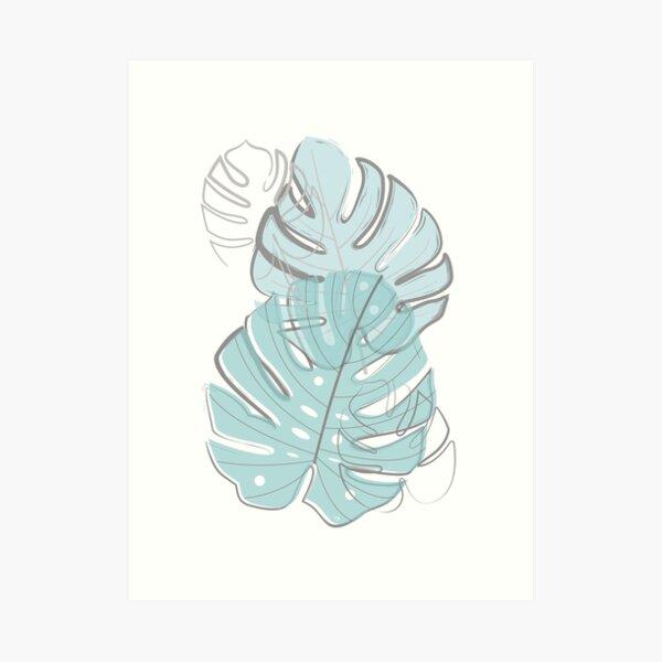 Tropical Blue leaves Art Print