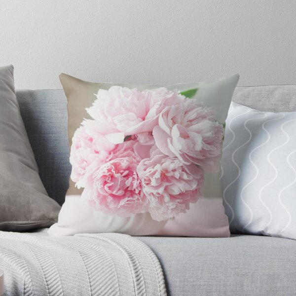 Classic Pink Peonies in a vase Throw Pillow