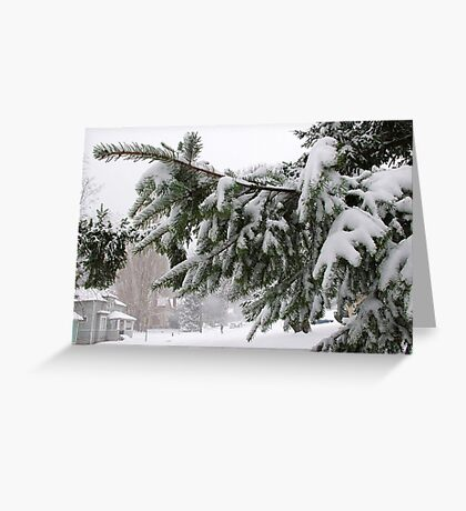 crossing the street on a blowy snowy day Greeting Card