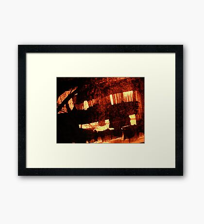 glow of grass huts.. Framed Print