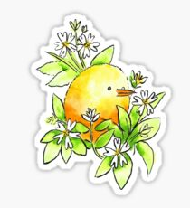 Chickweed - Yellow Baby Bird and Flowers Sticker