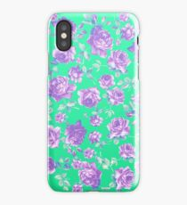 Vibrant Teal and Purple Hipster Rose Floral Print iPhone Case/Skin