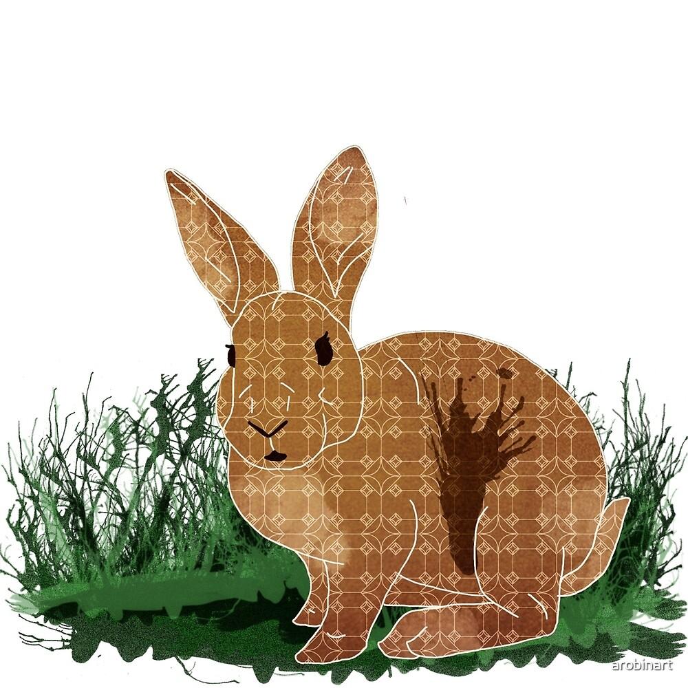 Brown Pattern Rabbit  by arobinart