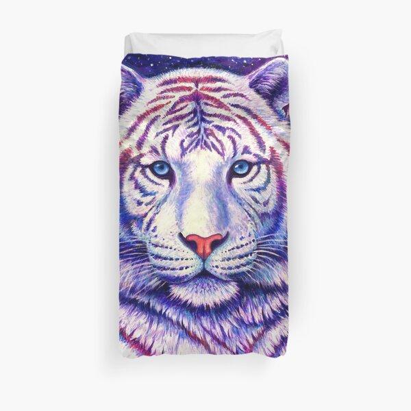 Among the Stars - Cosmic White Tiger Duvet Cover