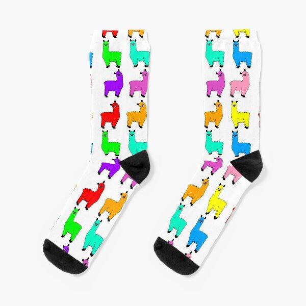 Rainbow Llamas Socks