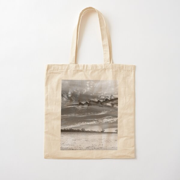 B-17 crash landing B&W version Cotton Tote Bag