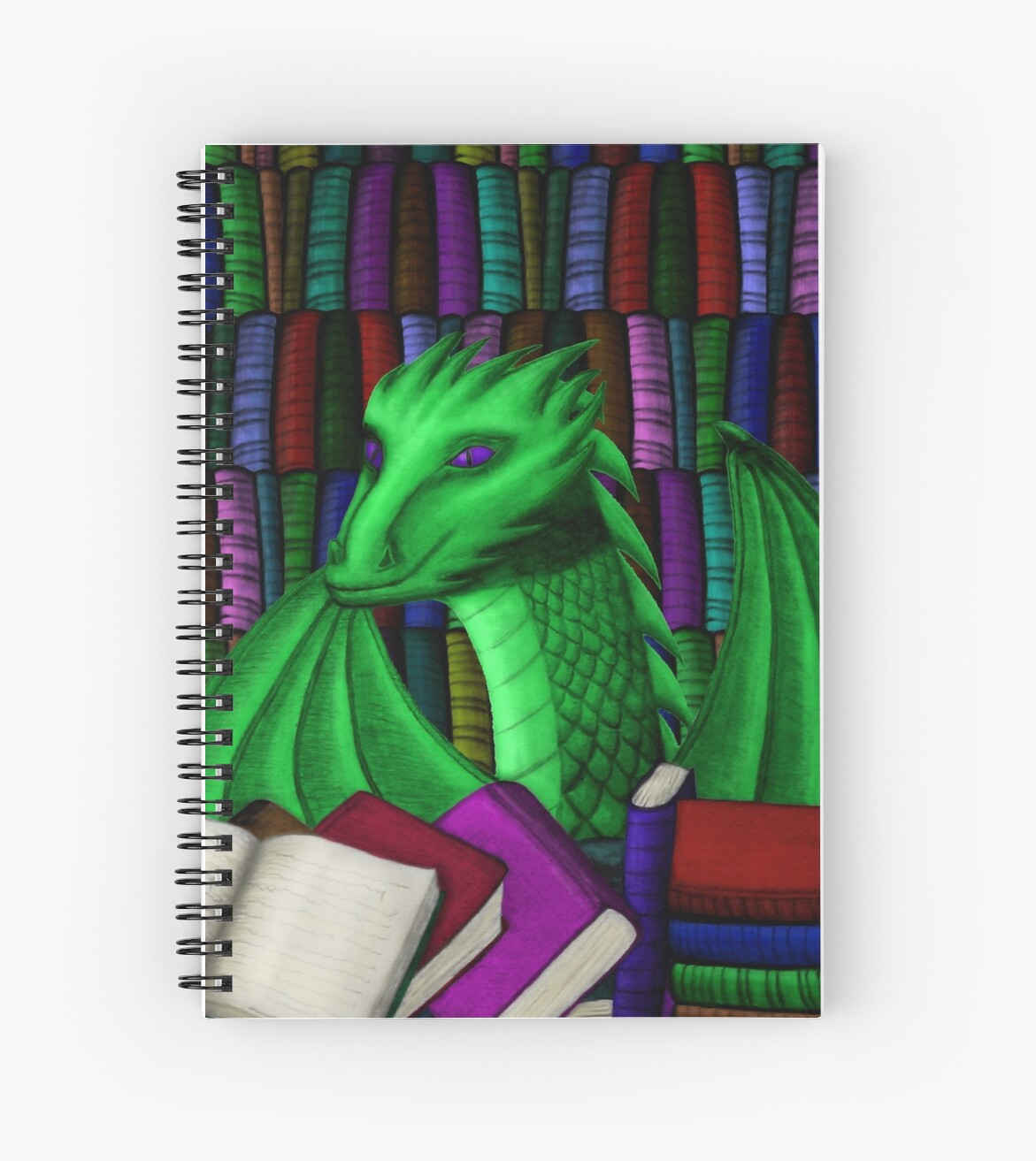 Green Dragon with Book Hoard - no glasses by shaneisadragon