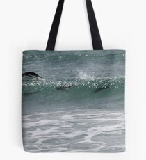 Gentoo penguins surfing Tote Bag