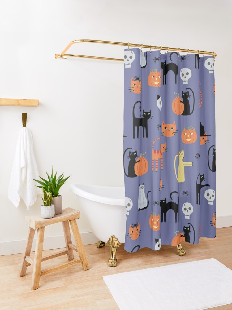 Alternate view of Halloween Cats and Pumpkins Shower Curtain