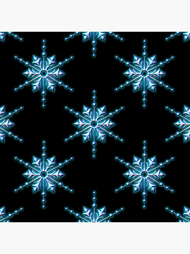 Ice Blue Christmas Star on Black by GraphicAllusion