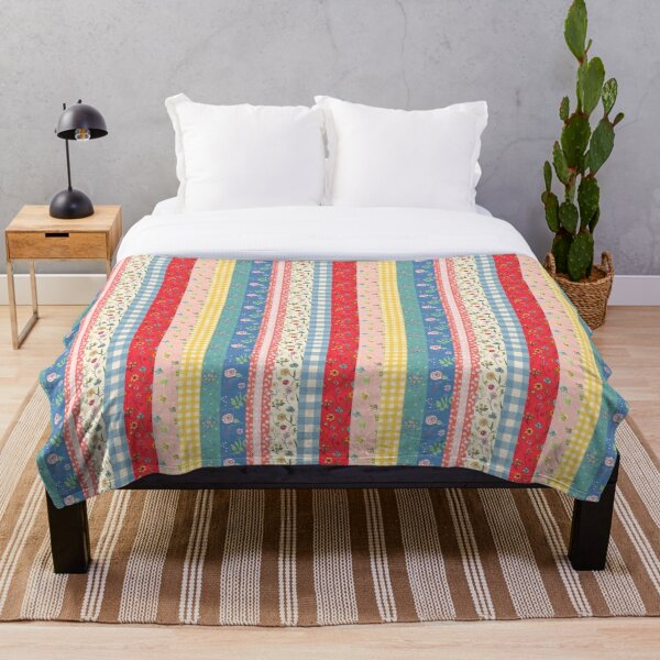 Happy patchwork stripe by Tea with Xanthe Throw Blanket