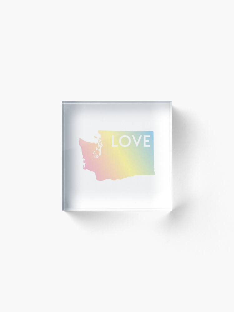 Alternate view of Pastel Rainbow Washington State Love Acrylic Block