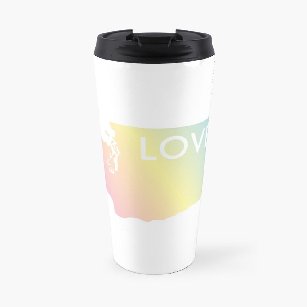 Pastel Rainbow Washington State Love Travel Mug