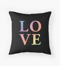 Gradient Rainbow Love Letters Throw Pillow