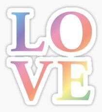 Gradient Rainbow Love Letters Glossy Sticker