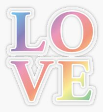 Gradient Rainbow Love Letters Transparent Sticker